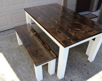 Rustic Harvest Dining Table Bench Set