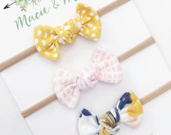 Mustard Polka Dot, Pink Geo, and Navy Tie Dyed Tied Bows / Toddler Bows / Hair Clip / Nylon Headband / Tied Bows / Macie and Me