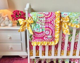Kumari Garden Teja Pink, Jeevan Pink, Yellow Fulton, and Mint Baby or Toddler Blanket, Hot Pink Baby Blanket, Yellow Baby Blanket