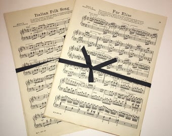 Vintage Sheet Music Paper Pages Ephemera | 1946 Book Pages