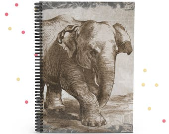 Vintage Elephant Spiral Notebook, Writing Journal, Journaling, Memory Book, Journal Lined, Gifts for Writers, Diary, Elephant Gift, 6x8