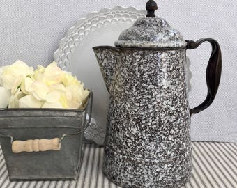 Vintage Speckled Enamelware Dark Brown/ Gray and White Coffee Pot , Item No. 1857