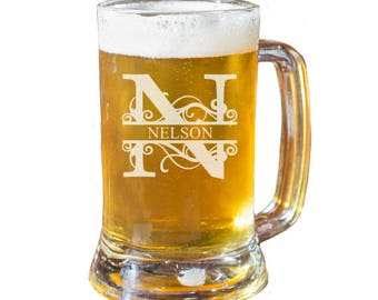 Beer Mug, Personalized Beer Glass, Groomsmen Mugs, Engraved Beer Mugs, Custom Beer Glass, Monogram