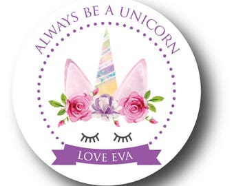 """12 Floral Watercolour Unicorn """"Always Be A Unicorn"""" Stickers"""