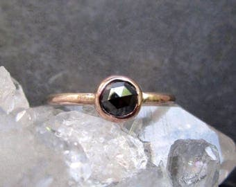 Black Diamond Ring, Rose Cut Diamond, Unique Engagement Ring, 14k Rose Gold, Black Diamond Engagement Ring