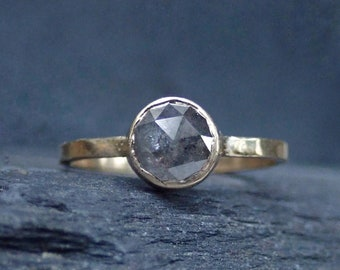 Raw Diamond Unique Engagement Ring, Rose Cut Grey Round Diamond Ring, 14k Gold Bezel setting, Conflict Free Diamond ring