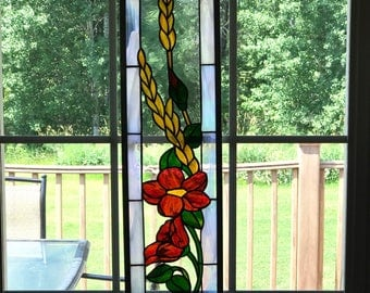 Red Flowers with Gold Wheat stained glass window panel, Irridized Glass Border with Silver Frame, Leaded Window, gift ideas