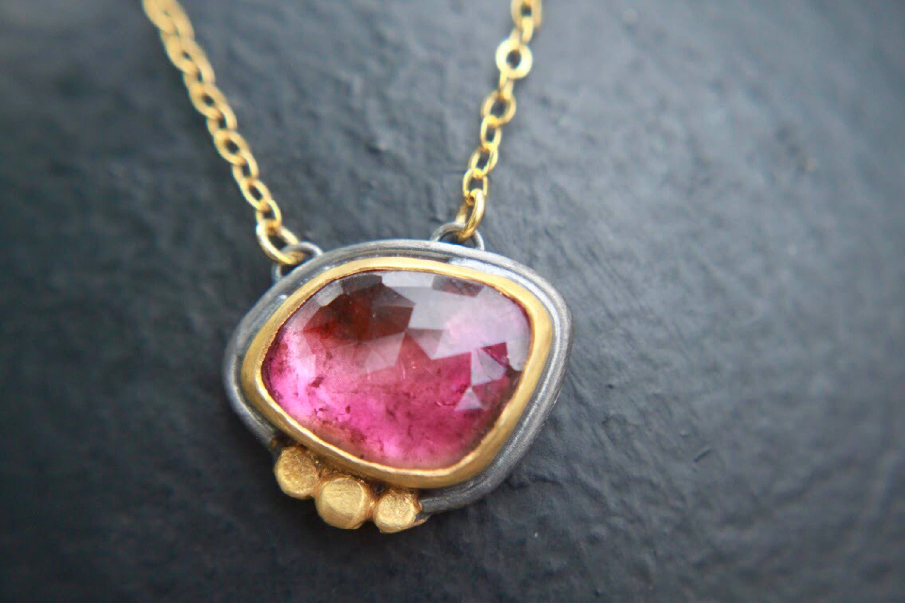 necklace gemstone pendant luxury bib statement watermelon tourmaline pink pin