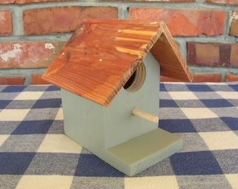 Cedar Birdhouse - Gray - Small, Decorative - Porch, Patio, Garden, Indoor Birdhouse