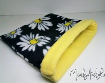 Daisies/Yellow - Reversible Fleece Snuggle Bag/Cuddle Sack For Hedgehog / Rat / Guinea Pig / Ferret / Sugar Glider / Small Animal