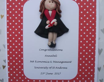 Personalised graduation card /gift/ keepsake by Hot Dough Creations