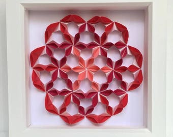 Red Flower Modular Origami Wall Art, Home Decor, Origami Art, 3D Paper Art, Paper Anniversary, Anniversary Gift, Wall Art, Oriental Decor