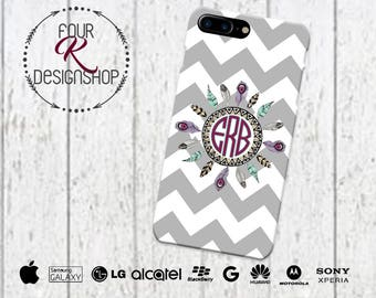 Feather Monogram Cell Phone Case, iPhone 6 case, iPhone 7 dreamcatcher, Dream Catcher case, iPhone 6 plus cell phone case, LG Case, Huawei