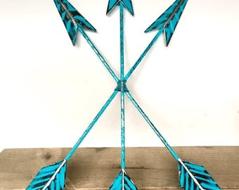 ON SALE Turquoise Blue Arrow Wall Art - Arrow Decor - Turquoise Blue Wall Art - Decorative Arrows - Bohemian Wall Decor - Wall Arrow - Triba