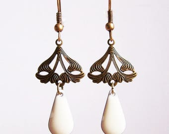 Retro connector and drop earrings glazed white