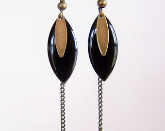 Sequin black enamel earrings and brass chain