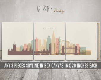 Set of 3 Canvas Prints, 3 Panel Canvas Art, Canvas wall art, Skyline art, 16x20 inches each canvas, total width 48x20 inches, ArtPrintsVicky