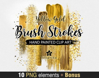Gold BRUSH STROKES Clip Art. 10 fashion design elements, Abstract brushstroke, shiny sparkles, bokeh, metallic paint texture. Read about use