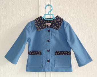 Jacket child 2 years in Navy blue cotton doubled blue cotton beige flowers