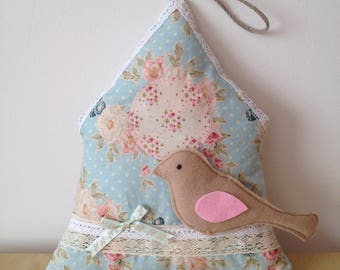 Decorative wall House-birdhouse shabby chic fabric flower and bird for child's room. girl's room home decor
