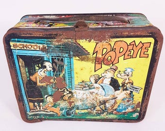 Antique Lunch Tin, Popeye Lunch Tin, Lunch Box, Popeye Memorabilia, Popeye Collector, Chippy, Antique Thermos, 1964 King Features Syndicate