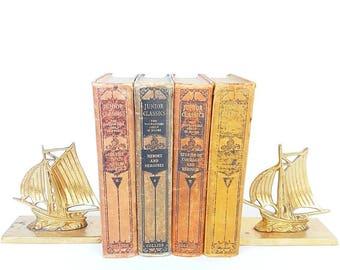 Antique Junior Classics Collier Books, Vol 4, 5, 7, 9, Nursery decor, Kids Room decor, Offie decor, Old Books, Book Collector, 1918