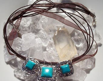 Brown organza and cotton necklace with turquoise gemstone pendant