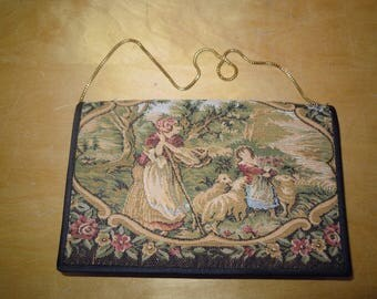 Vintage Tapestry Embroidered Handbag Purse Clutch Evening Bag DuVal Hong Kong Chain Handle