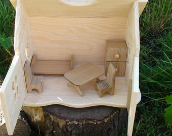 Handmade wooden dollhouse, Natural Wooden Dollhouse Waldorf, Wood doll house, Wooden doll house, Gnome house, Dolls house with a fireplace
