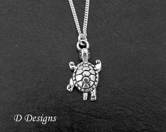 Tortoise Necklace, Silver Tortoise Pendant, Tortoise Charm Necklace, Tortoise Gifts, Reptile Jewellery,  Silver Charm Necklace,