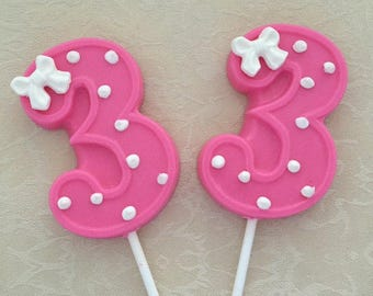 NUMBER THREE Chocolate Lollipops(12 qty) 3rd BIRTHDAY/Third Birthday Favors/Number 3 Lollipops/Girls Third Birthday/Number Three Party Favor