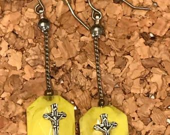 Vintage Yellow Swirled Glass Bead Dangle Earrings with Tiny Crucifix Cross