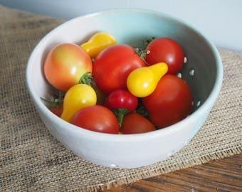 White And Celadon Ceramic Berry Bowl, Ceramic Colander