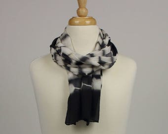 Chiffon silk scarf, hand-dyed with logwood extract & iron
