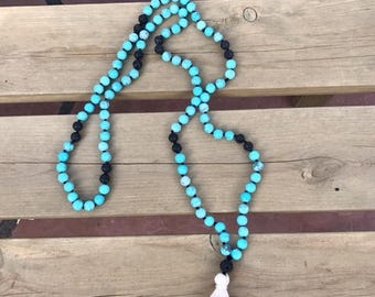 Turquoise and Black Lava Mala Necklace