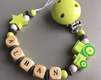 Pacifier clip-pacifier wood name: Alban