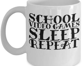 Sleep Video Games Sleep Repeat 11 Oz Coffee Mug,  coffee cup, Gift for Gamers, Sleep, Cartoons, Gaming Gift, Mug Geek Nerd Funny Humor