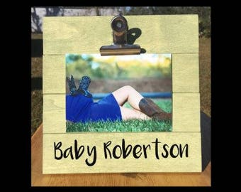 Personalized Any Name Pregnancy Announcement - Family Gift - Picture/Photo/Ultrasound Clip Frame - Custom Made - Options Available!