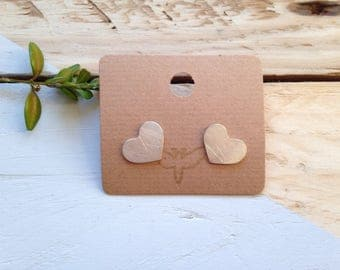Love heart studs | Large handmade love heart earrings in recycled silver | Recycled packaging | Ethical jewellery | Unique studs | Brighton