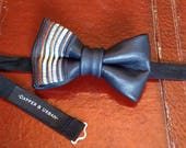 Stitched Leather Bow Tie- Bear Flag (Sale Price)