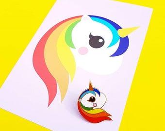 Cute rainbow unicorn enamel Kawaii pin | rainbow Unicorn enamel pin badge | lapel pin kawaii | Unicorn kawaii pin | Cute gift for her