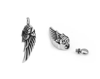 "Angel Wing Shaped Cremation Urn Jewelry Pendant for Ashes -- Includes FREE Stainless Steel Jewelry Chain (approx. 18"" length)"