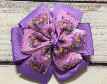 Sofia The First Hair Bow, Pinwheel Hair Bow, Princess Sofia  Hair Clip ,Girls Hair Bow, Princess Sofia The First  Boutique Hair Bow