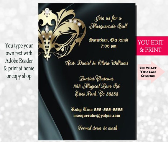 Elegant Masquerade Party Invitation Masquerade Invitation