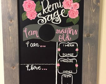 Baby Milestone Chalkboard - Monthly Baby  Chalkboard - Monthly Milestone - Baby Monthly Photo Prop - Nursery Decor - Nursery Wall Art -