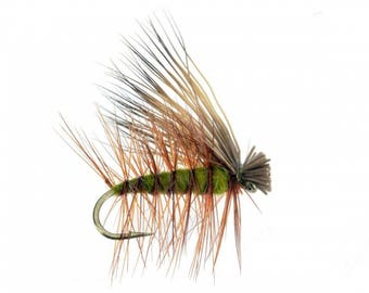 Elk Hair Caddis Olive Fly Fishing Trout Flies - Hand Tied Attractor / Prospecting Trout Fly Pattern - 4 Size Assortment 12,14,16,18