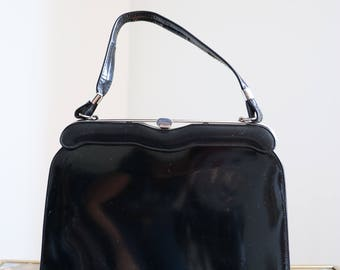 1950s Handbag - Framed Black Purse - Black Patent Leather Handbag - Silver Trim - Vintage Mad Men Style
