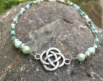 Ankle Bracelet, Anklet, Celtic Knot Anklet, Mint Green Anklet, Beaded Anklet, Ankle Jewelry, Womans Anklet