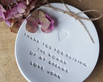 Thank You For Raising The Woman Of My Dreams ~ Mother Of The Bride Gift ~ Personalised Mother Of The Bride Gift ~ Ring Dish