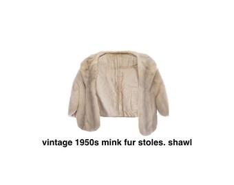 vintage beige 1950s mink fur stoles or shawl